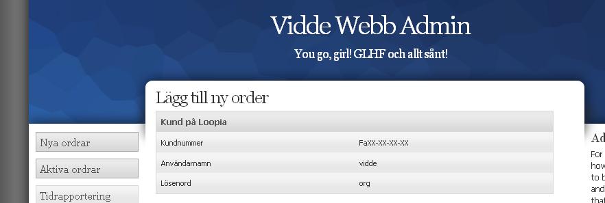 Vidde Webb Admin
